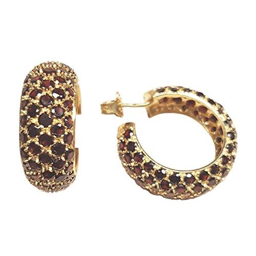 Clearance Boucles d'Oreilles Femme en Or 18 carats Jaune avec Grenat, 15 Grammes