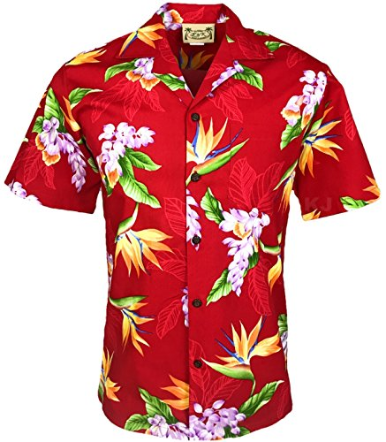 Tropical Luau Beach Cotton Print Men's Hawaiian Aloha Shirt (3X-Large, Floral Bird of Paradise ()