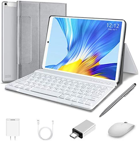 Tablet 10 inch, High Performance 2 in 1 Android 10.0 Tablets with Keyboard Case & Mouse, 4GB RAM 64GB Storage, Quad Core, Dual Sim Card, 4G WiFi, 8MP Camera, 8000 mAh, FM, GPS, Bluetooth
