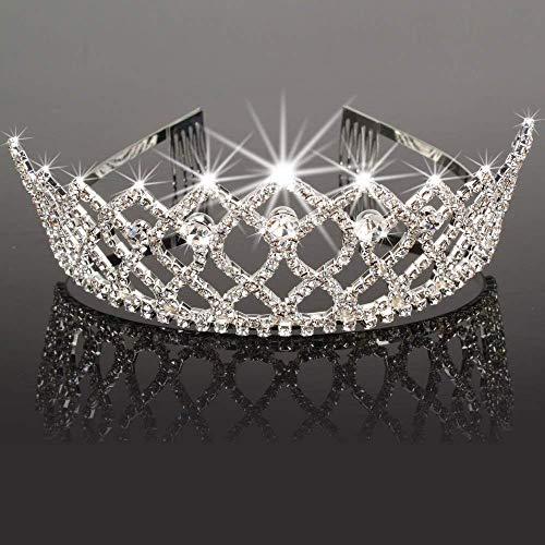 (Charming Rhinestone Heart Flower Design Tiara Crown Headband Comb Pin Wedding Bridal Party Birthday Tiaras (#6))