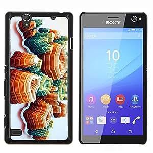 Arte Island Montañas anaranjadas- Metal de aluminio y de plástico duro Caja del teléfono - Negro - Sony Xperia C4 E5303 E5306 E5353