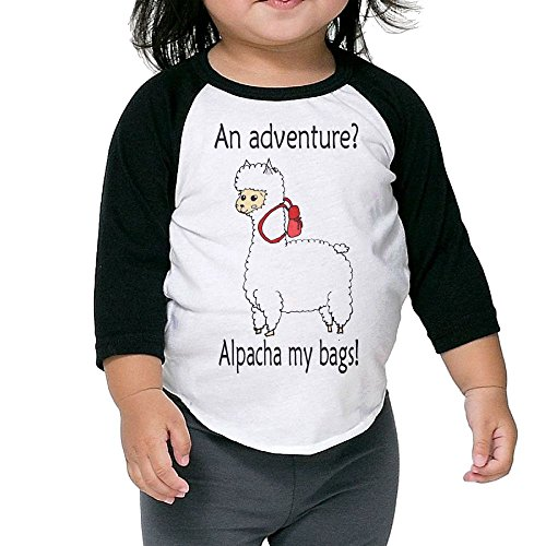 SH-rong Cute Alpacha Adventure Toddler 3/4 Sleeve Tee Size5-6 (Baby Stickman Costume)