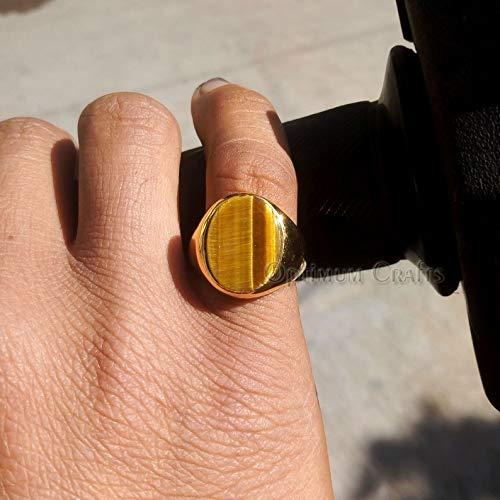 Genuine Tiger Eye Ring, Solid 925 Silver Ring, Men