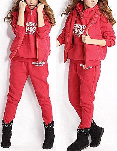 BYD Mujeres 3 Piezas Chándal Deportivos Hoodie Abrigo Sweatshirt Sudadera con Capucha + Chaleco Chaqueta + Pantalones Rojo