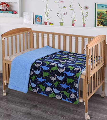 Elegant Home Kids Soft & Warm Blue Green Sharks Design Sherpa Baby Toddler Boy Blanket Printed Borrego Stroller or Baby Crib or Toddler Bed Blanket Plush Throw 40X50 (Sharks) ()