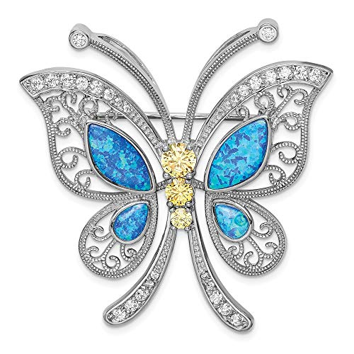 - Sterling Silver Women's Accessory Pins 46 mm 45 mm Created Opal Clear CZ Butter