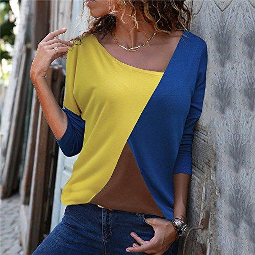Shirt Patchwork Neck Chemisier Walaka Longue Couleur Manche Mode Haut O Bloc Dcontracte Bleu Femmes T qFFt1P