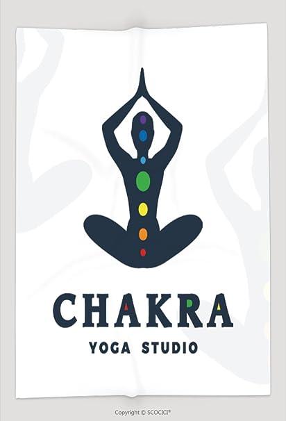 Manta de Custom Logo plantilla de estudio de yoga chakra empresa logotipo Meditación Pose diseño de