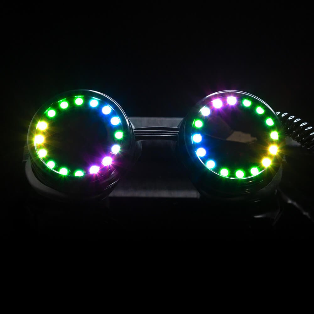 GloFX LED Pixel Pro Goggles [350+ Epic Modes] - Programmable Rechargeable Light Up EDM Festival Rave Party Sunglasses by GloFX (Image #2)