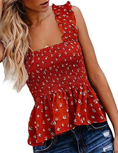 (CILKOO Women Stylish Floral Frill Smocked Crop Tank Top Strap Vest Tanks Tops Blouse Shirts Red US8-10 Medium)