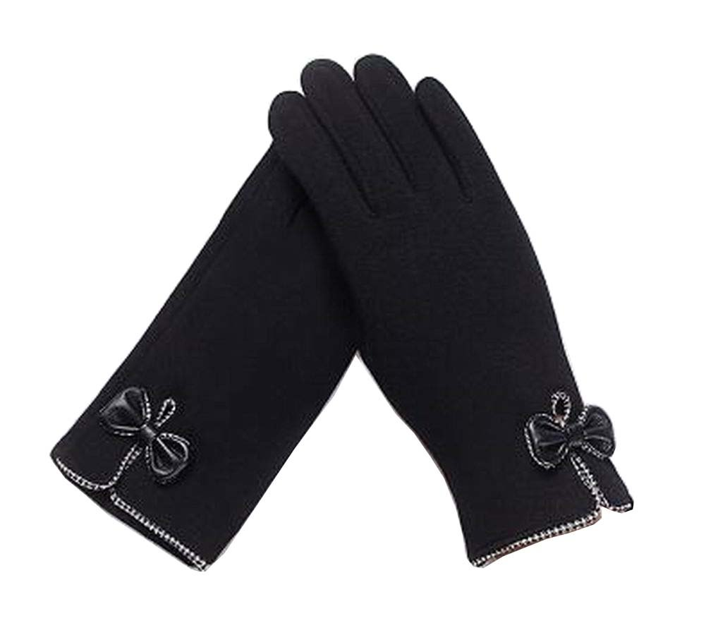 Ladies Elegant Warm Winter Gloves Driving Gloves Bow Black Black Temptation