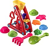 Water Wheel Sand Toy Set 10 Pc - Sea Hourglass Beach Toy Set with Rotating Water and Sand Wheel | Shovel | Rake and Assorted Sea Animal Molds for Pool | Beach | Backyard | Sandbox - Ages 3 and Up