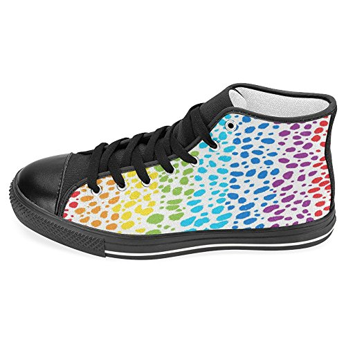 Rainbow Casual Lace High Trainers Classic Womens Shoes Fashion Sneakers Up InterestPrint Canvas Top 74nAIT