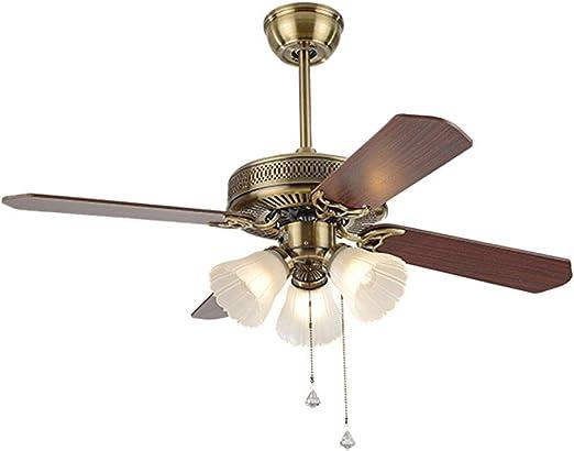 Luz de ventilador de techo Luz de ventilador de cobre retro ...