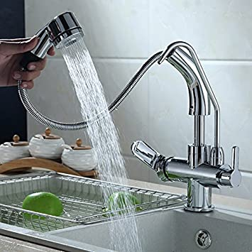 Jiuzhuo Single Handle Single Hole Pull Down Sprayer Kitchen Faucet