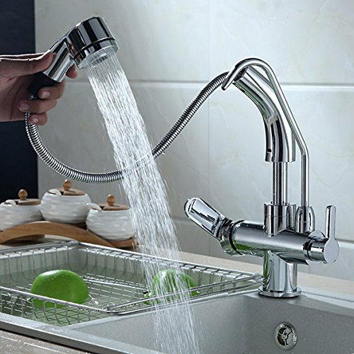 Jiuzhuo Single Handle Single Hole Pull-Down Sprayer Kitchen Faucet with Water Filtering,Chrome by Jiuzhuo