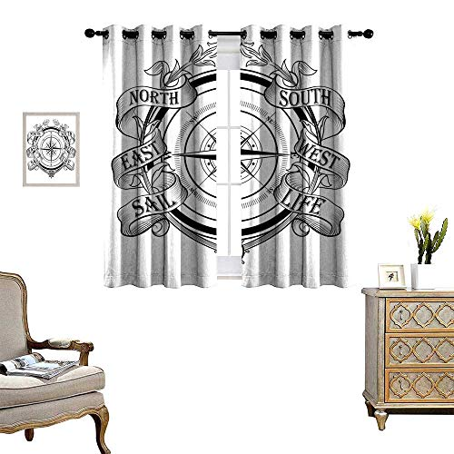 Solar Flare Canopy - Compass Room Darkening Wide Curtains Navigation Device Direction Flares Sail Life Marine Inspired Windrose Work of Art Customized Curtains Black White