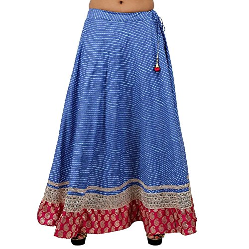 Stylish Blue Cotton Lehariya Skirt