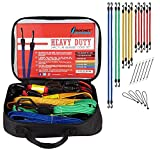Rocket Straps | Flat 24PC Extreme Heavy Duty Flat Bungee Cords with Hooks | Bungee Cord Set Includes | Tie Downs | Ball Bungees | Carrying Bag | 100% Latex Bungee Cords Extreme Strength