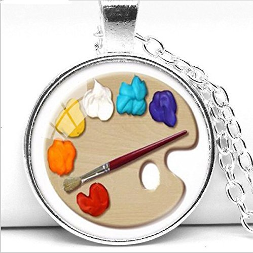 Color Palette Photo Cabochon Glass Pendant Necklace, Art Picture Handmade Jewelry