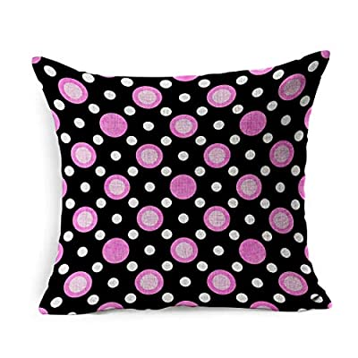Ahawoso Linen Throw Pillow Cover Square 18x18 Top Fashion Retro Texture Pink White Black Pale Old Polka Dot Vintage View Abstract Antique Circles Cloth Flat Pillowcase Home Decor Cushion Pillow Case from Ahawoso