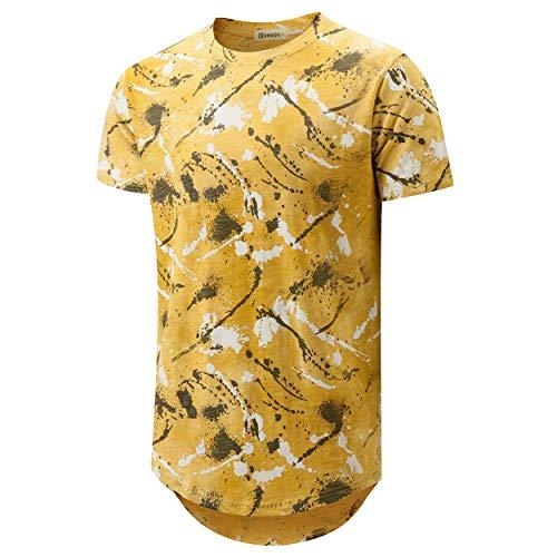 Patterned Linen Shirt - KLEGOU Mens Hip Hop Tie-Dye Hipster Curved Hem T Shirt (889 Yellow XL)