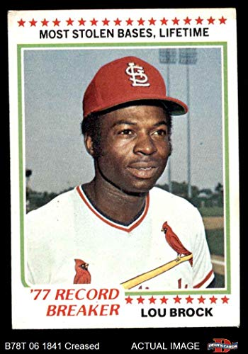 Lou Brock Card Baseball (1978 Topps # 1 Record Breaker Lou Brock St. Louis Cardinals (Baseball Card) Dean's Cards 3 - VG Cardinals)