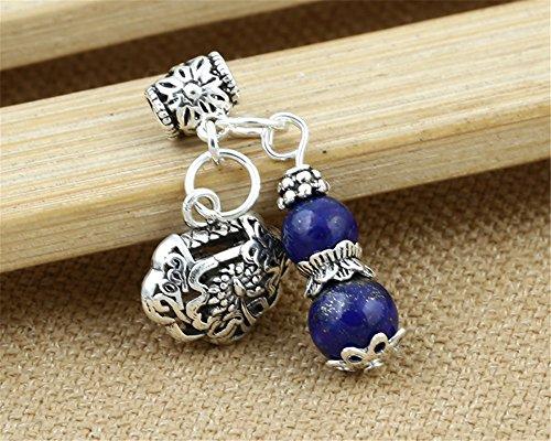 Lapis Lazuli Tube Beads (Luoyi 1pc Natural Lapis Lazuli Gourd Pendant, Sterling Silver Longevity Lock Dangle Bead Fit DIY Jewelry (G012Z))
