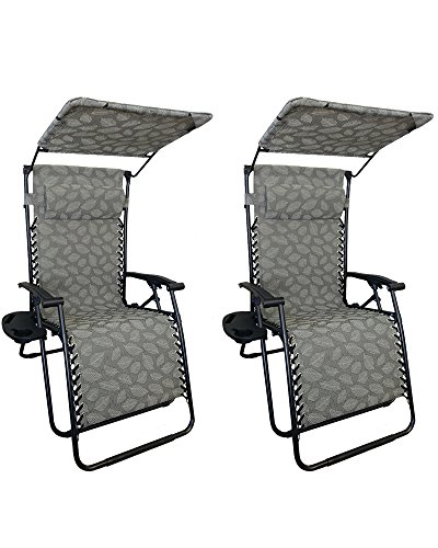 World Famous Sports Zero Gravity Lounge Chair with Sunshade and Removable Tray (2 Pack), Green Leaf