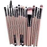 SMTSMT 15 pcs/Sets Eye Shadow Foundation Eyebrow Lip Brush Makeup Brushes Tool (Gold)