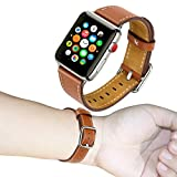Band for Apple Watch 38mm, Guangzhi Genuine Leather Wrist Staps Replacement Band with Square Buckle Clasp for iWatch Series 1 / 2 / 3, Sport, Edition,38mm,Brown