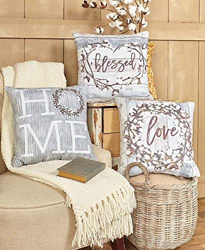 The Lakeside Collection 3Pc Cotton Boll Accent Pillows