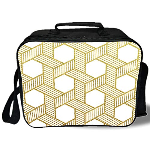 Gold and White 3D Print Insulated Lunch Bag,Geometric Lines Stripes with Crossing Like Braids Minimalist Image,for Work/School/Picnic,Yellow and White