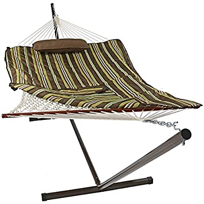 Sunnydaze Cotton Rope Freestanding Hammock with 12 Foot Portable Steel Stand and Spreader Bar, Indoor or Outdoor Use, Pad and Pillow Included, Desert Stripe - SPACE SAVING SIZE: Patio hammock is 144 inch long x 52 inch wide, weighs 36 pounds. Hammock bed is 76 inch long x 52 inch wide. EVERYTHING IS INCLUDED: Outdoor hammock set is weather-resistant and includes a 12 ft stand frame, polyester sleeping pad, and a comfortable pillow. EASY ASSEMBLY: Camping hammock comes with two metal hanging chains and two metal O-rings making it easy to set up as soon as it arrives. - patio-furniture, patio, hammocks - 5101dRDfY4L. SS400  -
