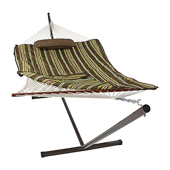 Sunnydaze Cotton Rope Freestanding Hammock with 12 Foot Portable Steel Stand and Spreader Bar, Pad and Pillow Included, Desert Stripe - SPACE SAVING SIZE: Patio hammock is 144 inch long x 52 inch wide, weighs 36 pounds. Hammock bed is 76 inch long x 52 inch wide. EVERYTHING IS INCLUDED: Outdoor hammock set is weather-resistant and includes a 12 ft stand frame, polyester sleeping pad, and a comfortable pillow. EASY ASSEMBLY: Camping hammock comes with two metal hanging chains and two metal O-rings making it easy to set up as soon as it arrives. - patio-furniture, patio, hammocks - 5101dRDfY4L. SS570  -