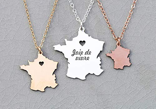 - France Necklace - IBD - Engrave with Name or Coordinates – Choose Chain Length – Pendant Size Options - Ships in 1 Business Day - 935 Sterling Silver 14K Rose Gold Filled Charm