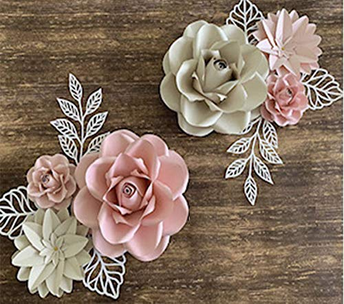 - BUBBAPAINT. 3D Paper Flower Decorations for Wall. Backdrop for Décor. Giant Size Pre-Assembled Flower. Girld Nursery Wall Decor. Party Decor Wendding, Bridal Shower, Rooms. Pink, Cream and Silver