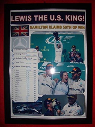 Lewis Hamilton 2016 US Grand Prix winner in Austin, Texas - framed -