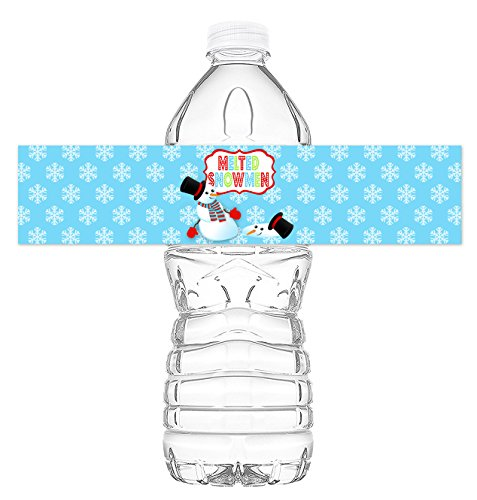 Snowman Bottle - Snowman Bottle Wraps - 20 Snowman Water Bottle Labels - Snowman Decorations - Made in the USA