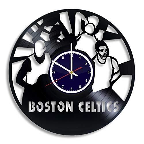 BuhnemoShop Boston Celtics Handmade Vinyl Record Wall Clock, Boston Celtics Baseball Team Wall Poster Unique Kitchen Decor Ideas, Boston Celtics Basketball Gift for him and ()