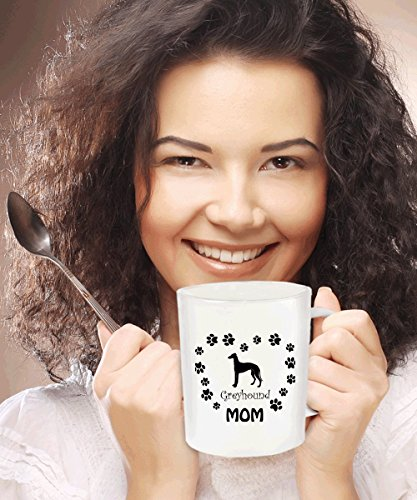 Greyhound Dog Mom Gift - White Coffee Mug - 11 oz Novelty Tea Cup - Ceramic - Dog The Bounty Hunter Costume Wife