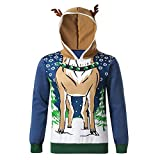 Clearance On Sale Litetao Ugly Christmas Sweater Mens Reindeer Fur 3D Hooded Funny Xmas Pullover Sweatshirt (L, Blue (Small))