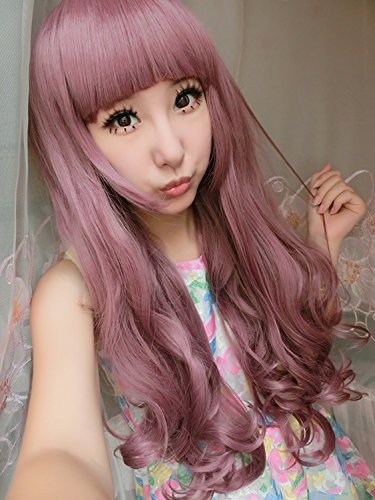 Womens/Ladies 75cm Grape Purple Color Long CURLY Cosplay/Costume/Anime/Party/Bangs Full Sexy Wig (75cm,Curly Grape ()