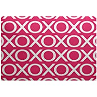 E by design RHN388P2-23 Valentine Print Indoor/Outdoor Rug, , 2 x 3, Pink/Fuschia