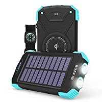 Solar Power Bank, Qi Portable Charger 10...