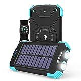 Hiking Power Bank, Wilress Solar Charger 10,000mAh External Battery Pack Type C Input Port Dual Flashlight, Compass (Splashproof, Dustproof, Shockproof, Solar Panel, DC5V/2.1A) (Light Blue, 10000mAh)