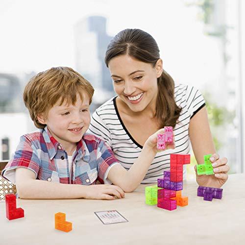 D-FantiX Magnetic Building Blocks Tetris Puzzle Cube 7pcs/Set Square 3D Brain Teaser Puzzle Magnetic Tiles Stress Relief Toy Games for Kids ( Cube Size 2.36in) by D-FantiX (Image #5)