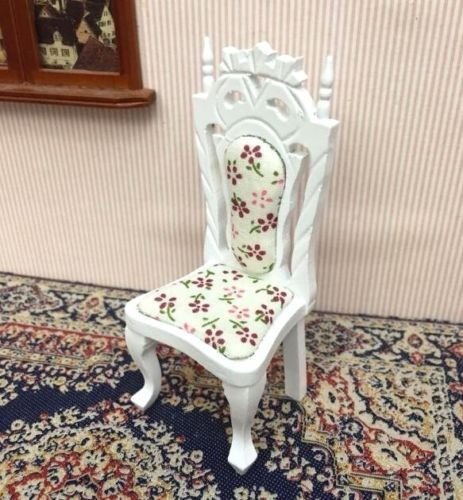 EatingBiting(R) 1:12 Royal Palace Design Dollhouse Miniature Doll Chair Furniture Elegant White Wooden Highback Chair , 1/12 Dollhouse Miniature Vintage Flower Cloth Material with Wood Chair
