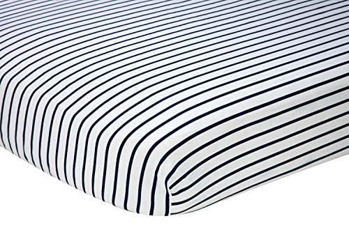 Nautica Kids Nursery Separates Striped 100% Cotton Fitted Crib Sheet, Navy/White