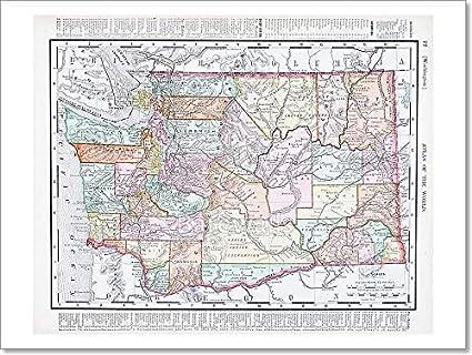 photo regarding Printable Map of Washington State identify : Barewalls Antique Typical Shade Map of